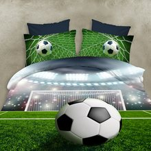 2016 new 3D bedding sets of football, flowers, queen size, family sets of 4 sets of quilt / bed sheets / pillowcase large(China)