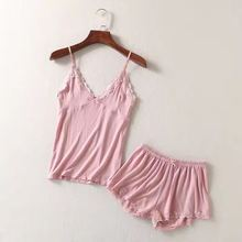 HDY Women 2 Piece Sets Camis and Shorts Sleeping Wear Spaghetti Strap Cami Top Cotton Pink Color Sexy V neck Lace Cami Sets caged neck cami top