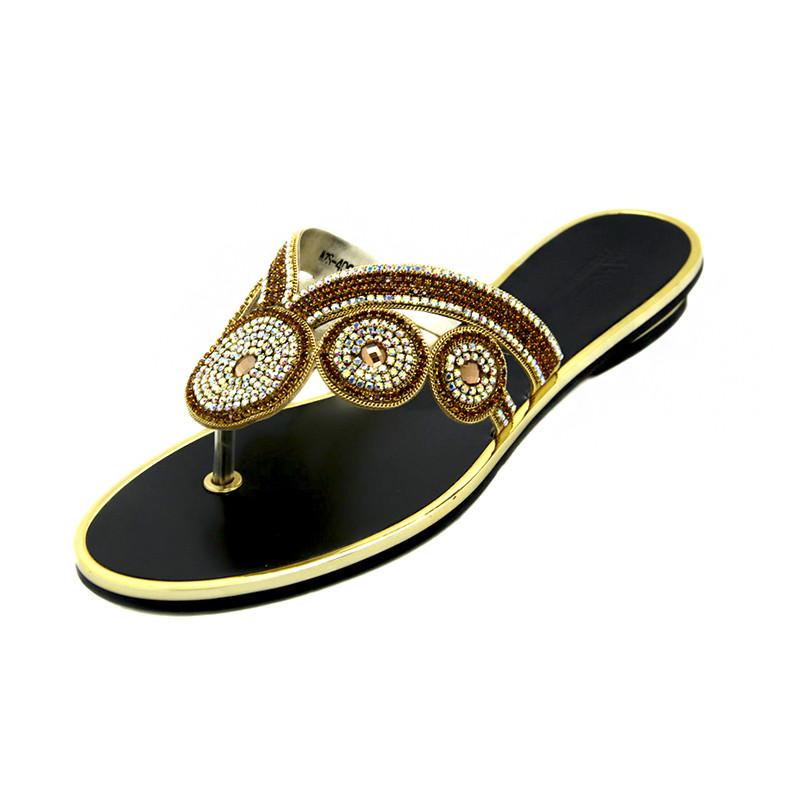 US $50 0 |New Model Women Rhinestone Fip Flops Slipper 2016 Summer Women  Fancy Flat Sandals Women Black Gold Color Shoes Large Size Shoes-in  Slippers