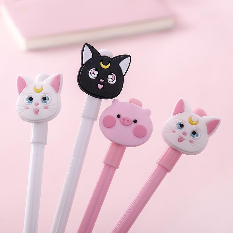 1 Pcs Cute Cartoon Kawaii Animal Cat Pink Pig 0.5mm Gel Pen Student Plastic Writing Pens Escolar Papelaria Office Stationery