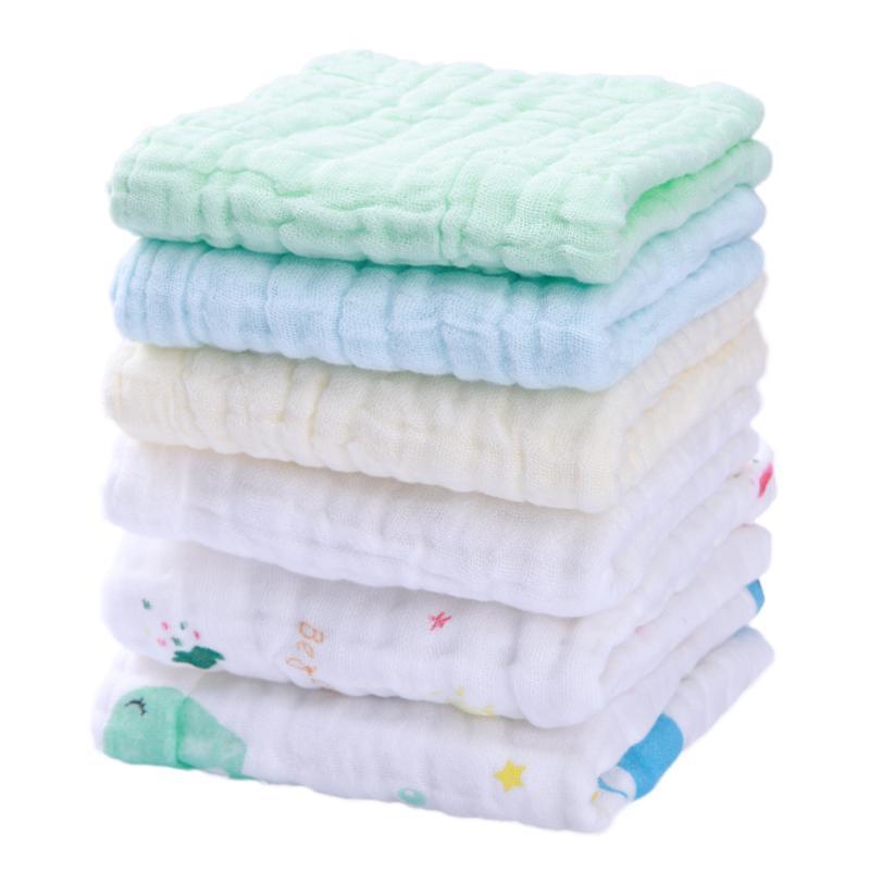 6pcs/set Soft Cotton Cartoon Baby Bath Towels Infant Children Absorbent Feeding Saliva Towel Face Hand Newborn Baby Towels