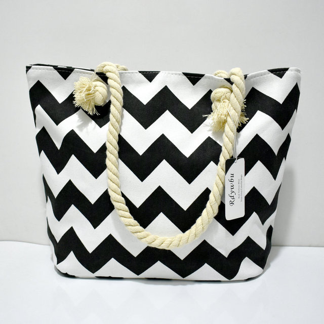 STRIPED LARGE CANVAS TOTE BAG - Women Summer Casual Cord Shoulder Bag Female Shopping Beach Handbag 5