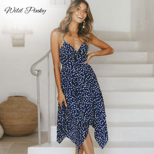 WildPinky 2019 New Vintage Polka Dot Dress Women Summer Spaghetti Strap Casual V-neck Party Boho Backless Midi Dresses Vestidos