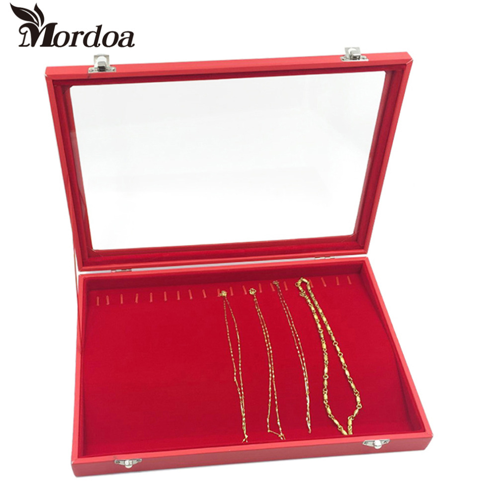Fashion Red Jewelry Display Casket Jewelry Organizer Necklace Pendent Box Case for Jewlery Gift Box Jewelry Box Free Shipping