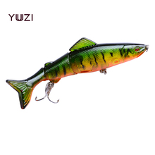2018 YUZI Artificial wobbler 125mm 18g Sinking Pike Hard Bait Minnow Depth 0.5-1.8m fishing lure 4# hooks 8 colors Lures tackle