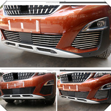 Fit For Peugeot 3008/GT 5008GT 2016 2019 Car Styling Stainless Steel Front Grille Racing Grills Trim 26pcs/set Auto Accessories