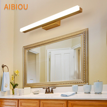AIBIOU Modern Led Wall Lights For Barth Room Nordic Style Wood Sconce Designer Wooden Mounted Mirror Light