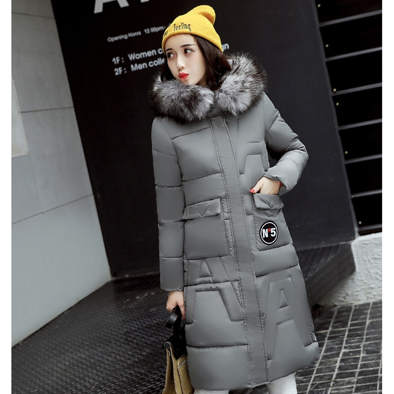 2017 NEW HOT SALE WOMEN WINTER JACKERS MEDIUM LENGTH LARGE FUR COLLAR HOODED THICKEN WARM FEMALE PARKAS SLIM OVERCOAT ZL457