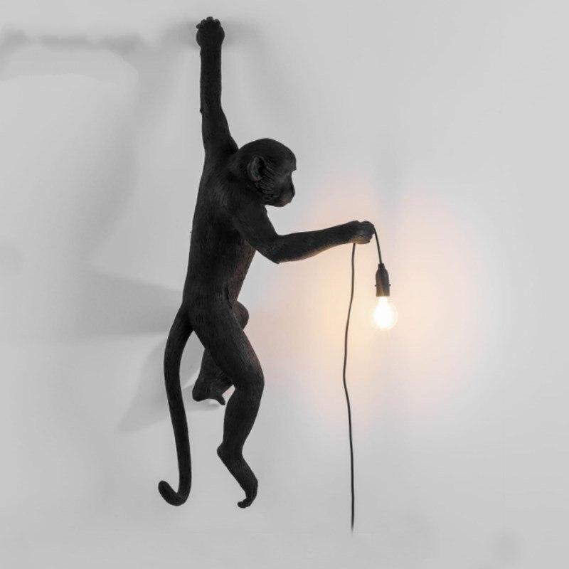 Lampe singe noir moderne résine corde de chanvre Seletti lampe singe blanc salon singe lumières en suspension suspension lampe E27 - 5