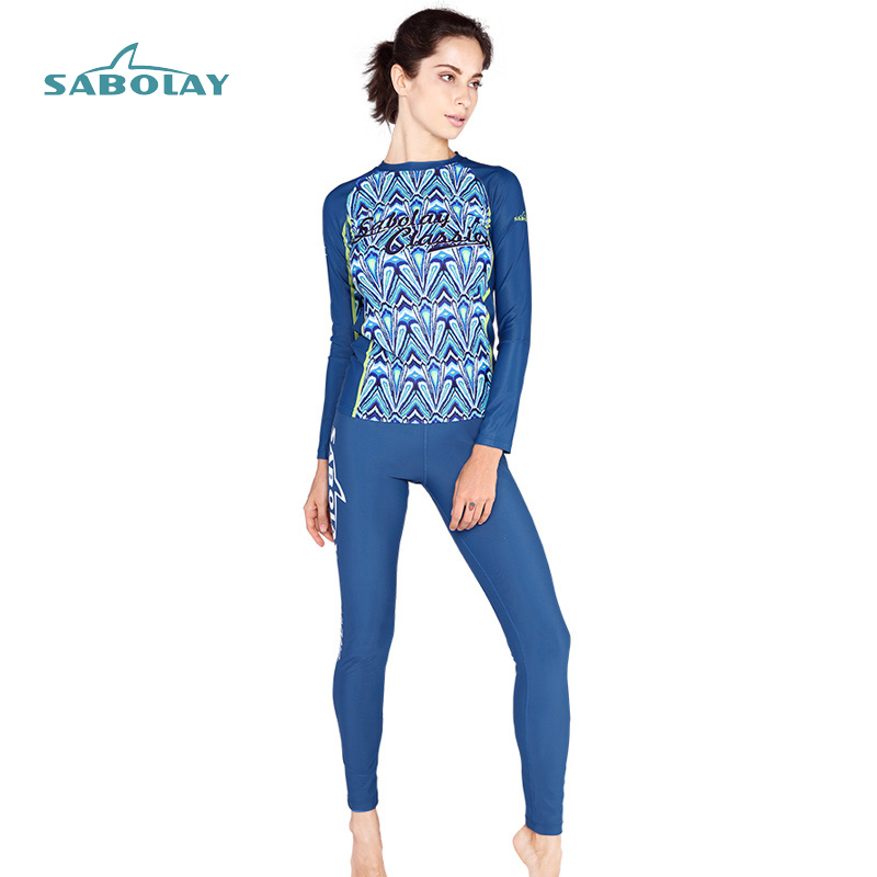 SABOLAY Wome Rash Guards Surf Suit Sexy Beach Long Sleeve Swimsuits Shirt And Pants Bathing Suit Womens Sunshine Surfing Female