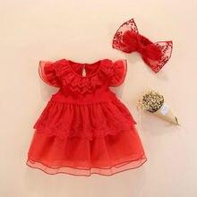 0986d7b8fd Bebé niña vestido de verano de 2019 rojo de algodón nuevo bebé niña ropa  1st cumpleaños bautizo 0 3 meses fiesta de Bautismo ves.