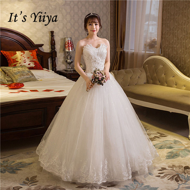 Free Shipping 2017 Plus Size Strapless Bling Ruffles Lace Wedding