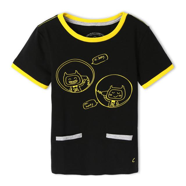 Envío gratis! Original diseñado Premium 100% algodón Jersey con gato de la historieta impresión chico manga corta camiseta. exclusivo