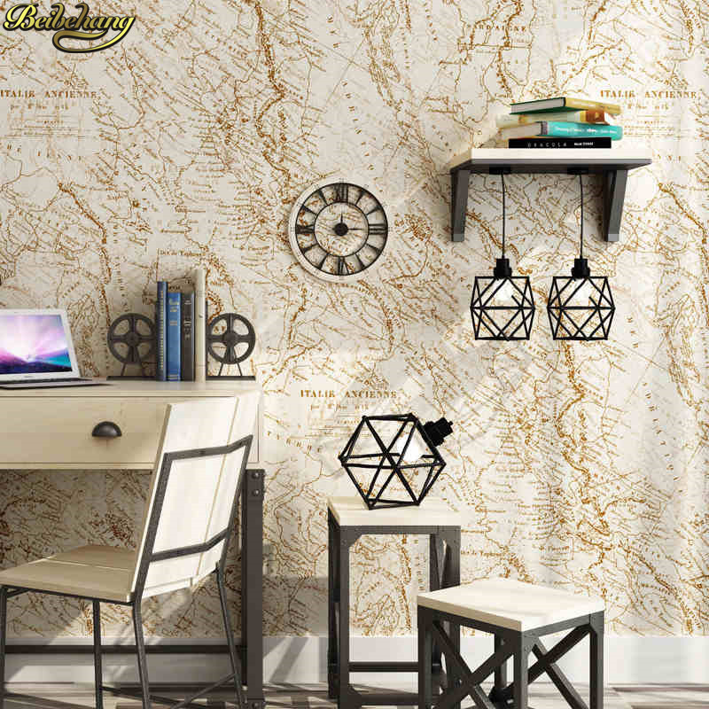 bản đồ cafe cũ - beibehang American country rustic old map imported pure paper wallpapers study bar cafe background wall paper papel de parede