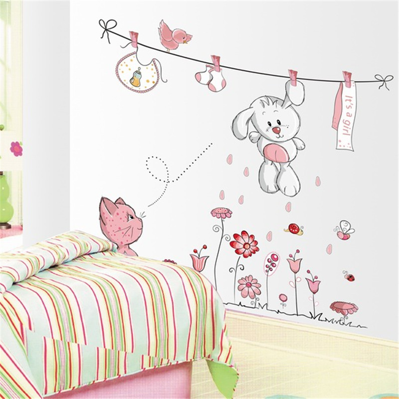 Cute hang clothes rabbit cat removable mural kindergarten for Stickers para decorar paredes infantiles