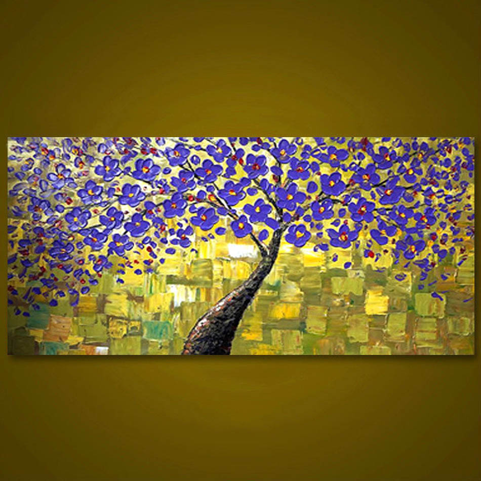 ▻Unframed Purple Tree Flower Hand Painted Palette Knife Oil ...