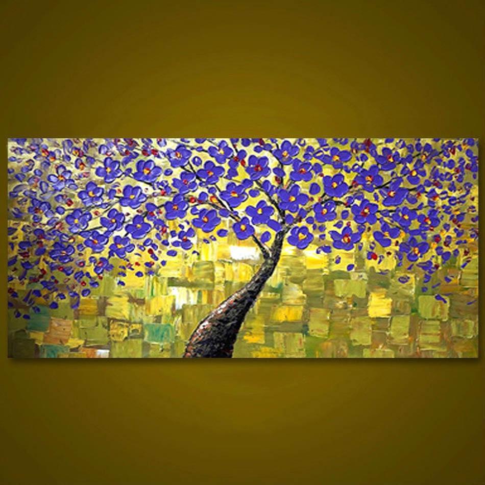 Aliexpress.com : Buy Unframed Purple Tree Flower Hand Painted ...