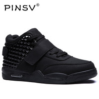 PINSV High Top Sneakers Mens Shoes Casual White Shoes Men Footwear Red Bottoms Designer Zapatos Hombre Plus Size 39 46