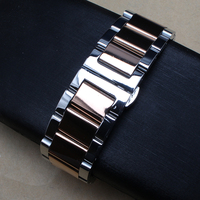 18mm 20mm 21mm 22mm 24mm High Quality Watchband Silver Black Stainless Steel Watch Bracelets Solid Links
