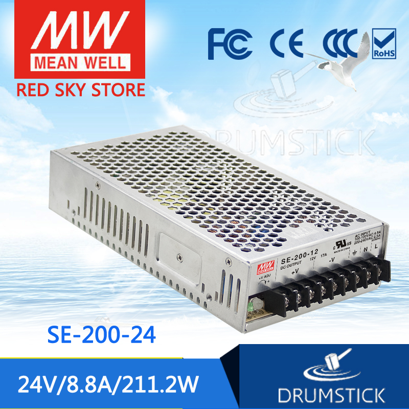 (Only 11.11)MEAN WELL original SE-200-24 (2Pcs) 24V 8.8A meanwell SE-200 24V 211.2W Single Output Switching Power Supply only 11 11 selling hot mean well se 100 24 2pcs 24v 4 5a meanwell se 100 24v 108w single output switching power supply