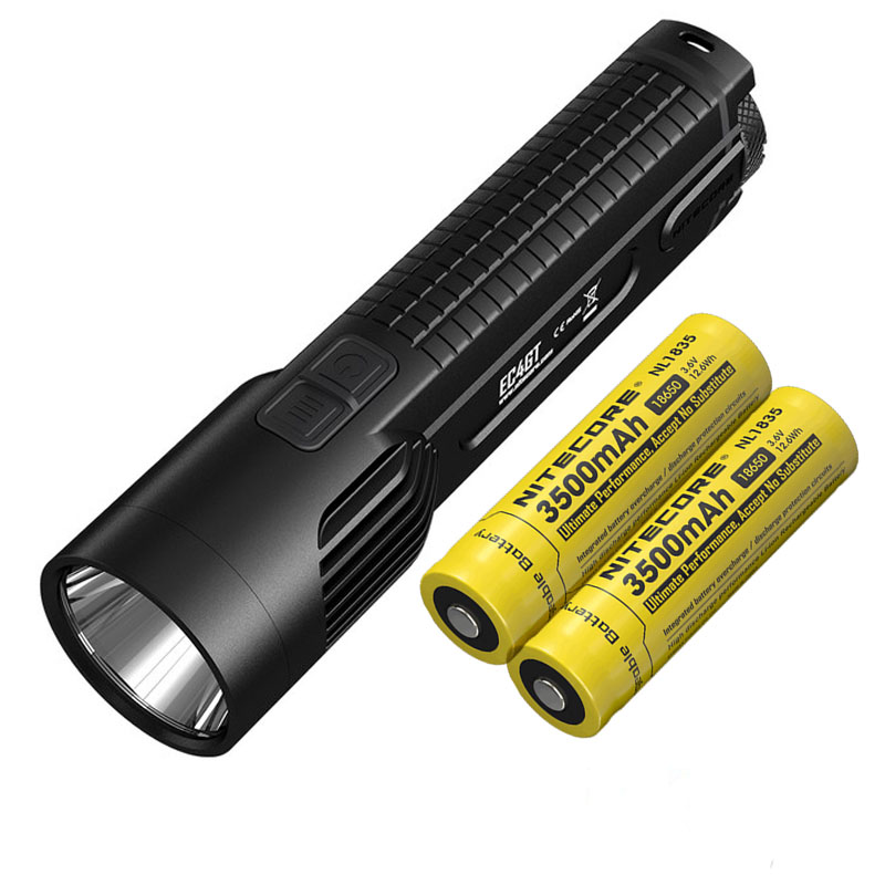 Flashlight NITECORE EC4GT XP-L HI V3 LED max.1000LM Beam throw 475 meters torch + 2 * 18650 3500mAh rechargeable batteries nitecore p12gt cree xp l hi v3 1000lm led flashlight 320 meter torch new i2 charger 18650 3400mah battery for search