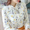 New 2016 Autumn 4XL Ladies Tops Bow tie Shirt Floral Embroidery Blouse Women Chiffon Blouse Long Sleeve Casual Blusas femininas