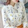 Novo 2016 Outono Senhoras 4XL Topos Camisa Arco laço Bordado Floral Blusa Chiffon Mulheres Blusa de Manga Comprida Casual Blusas femininas