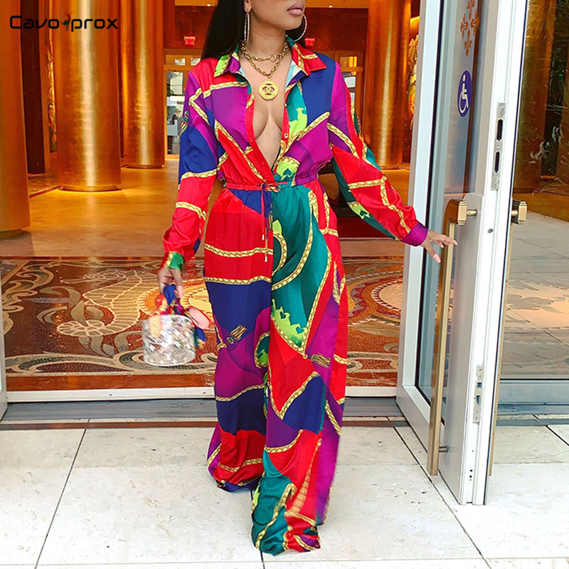 Women Printed Long Sleeve Turn Down Collar Pluge V-neck Wide Leg   Jumpsuits   Sexy Boho Beach   Jumpsuits   Elegant Party Long Overall
