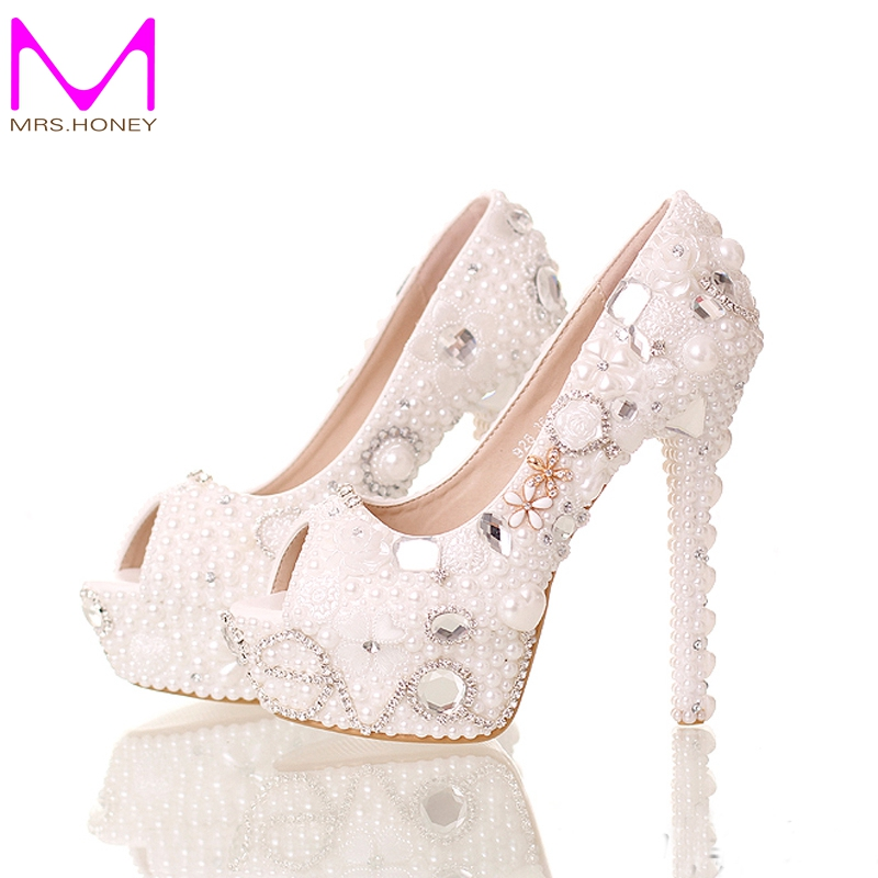 ФОТО 2016 Summer Peep Toe White Pearl Shoes Wedding Bridal 14cm High Heels Platform Crystal Bride Shoes Handmade Party Prom Pumps