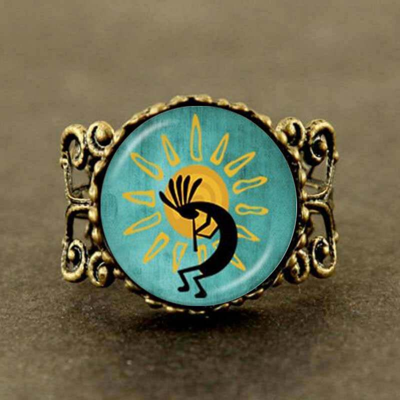 2017 Collares Collier Maxi Kokopelli Sun Dance Ring Glass Jewelry American Southwest Fertility Diety For