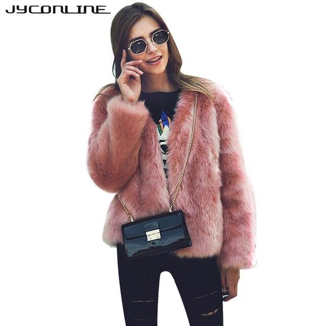 58136ada3f2a JYConline Winter Elegant Fluffy Faux Fur Coat Women Jackets Warm Long  Sleeve Fake Fur Jackets Women Outerwear Cardigan Overcoat