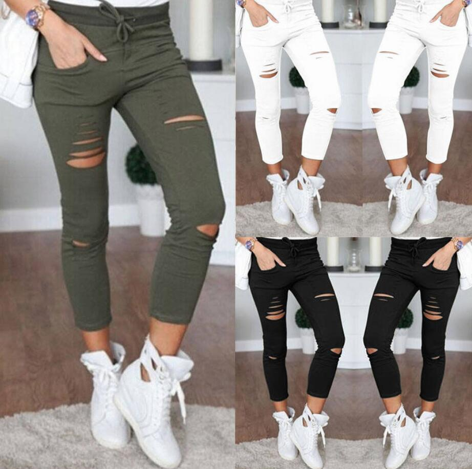 Pants Destroyed White Women New Black Knee Stretch Trousers Jeans Holes Skinny Ripped