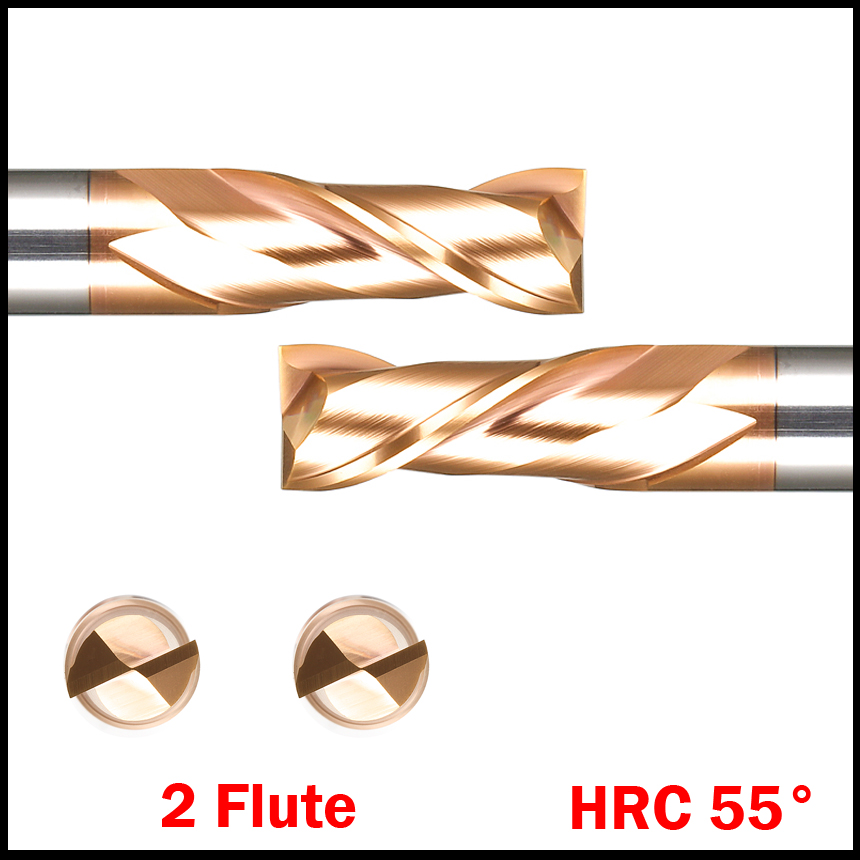 HRC55  2 Flutes 8MM Solid Carbide Flat endmill Length 60MM