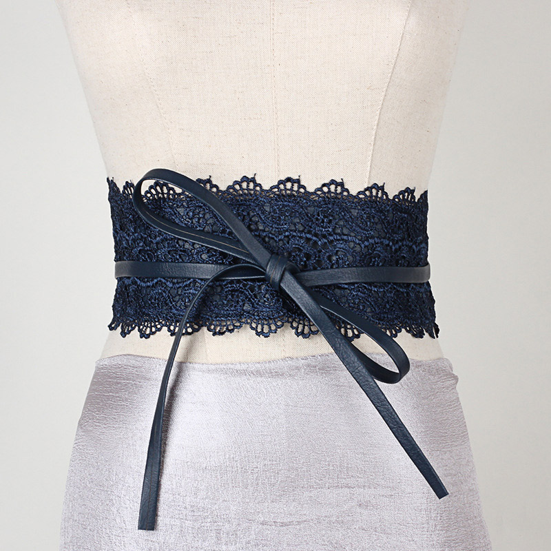 Women Waist Band Lace PU Leather Self Tie Wrap Around Waistband Obi Cinch Dress Belt PO66