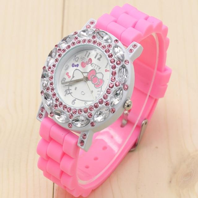 New Arrived hello kitty cartoon watches silicone girls kids quartz wristwatch wo