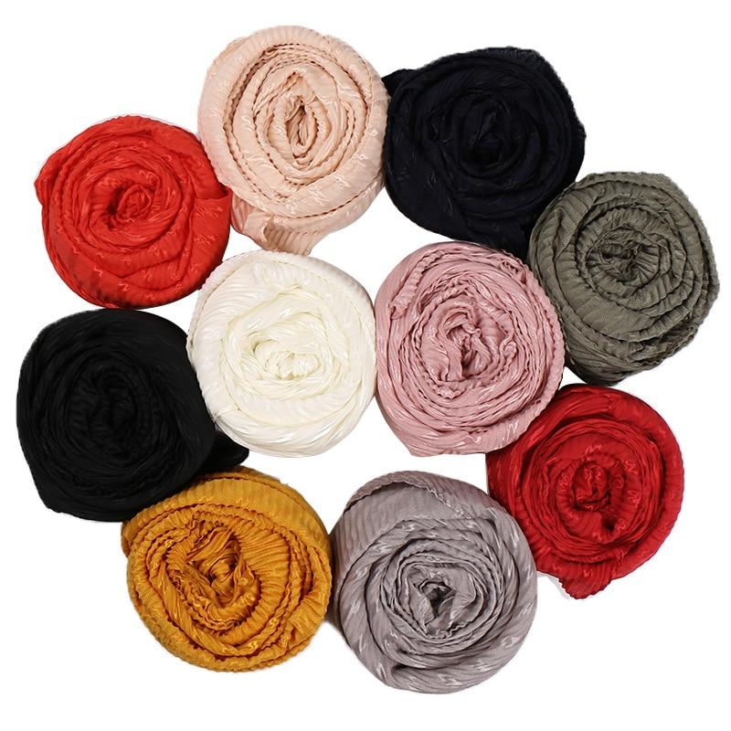 Wrinkle Cotton Hijab Scarf Plain Pleated Shawls Muslim Glittescarves Headscarf Wraps Turbans Scarves 10pcs/lot 10 Color