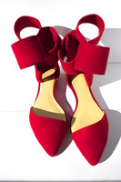 Sestito High Quality Girls Sweety Butterfly knot Sandals Woman Suede Hook&Loop Casual Shoes Lady Pointed Toe Cover Heels Shoes