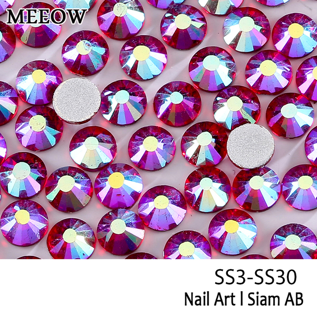 SS3-SS30 Siam AB Nail Art Rhinestones With Round Flatback For Nails Art  Cell Phone And Wedding Decorations ce6af5196f5b