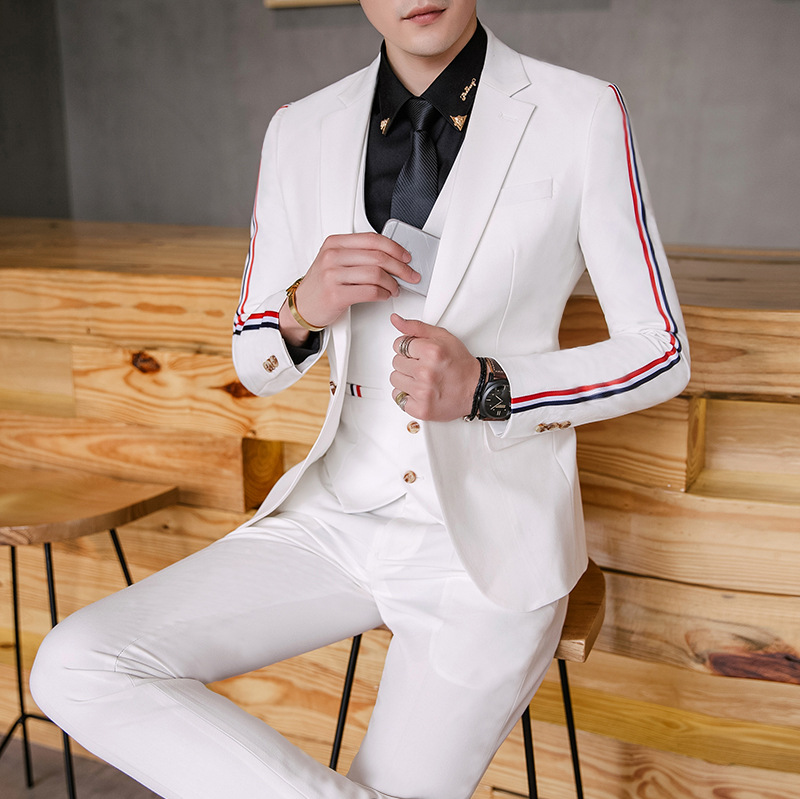 BO new 2018 ribbon decoration to cultivate ones morality suit Flax comfortable fashion young suit Two jackets and pants