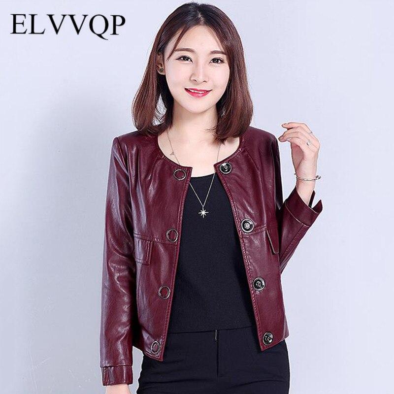 Korean Spring Windbreaker Female Coats And Jackets Women Bomber Jacket Plus Size 2018 Casual Long Sleeve PU leather Jacket NW328
