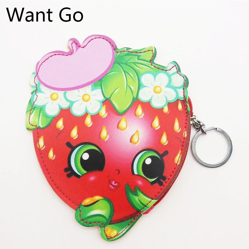 Want Go Strawberry Shape Girls Mini Wallet Hot Selling Women Cartoon Zipper Coin Pouch Bags Cute Lady Coin Purse Keychain Bags
