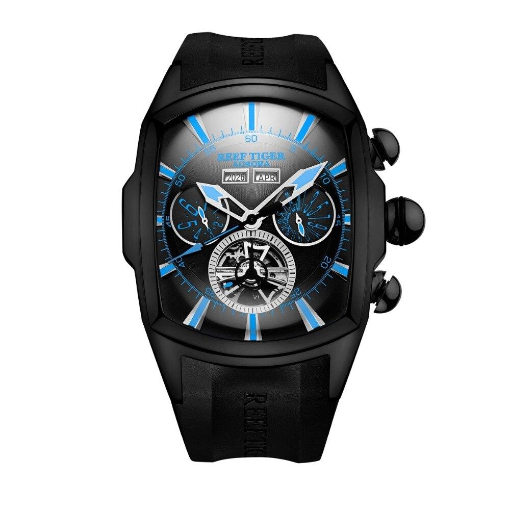 Arrecife de Tigre/RT superior de la marca de lujo de gran reloj para hombres azul Dial mecánica Tourbillon relojes deportivos Relogio Masculino RGA3069-in Relojes deportivos from Relojes de pulsera    2