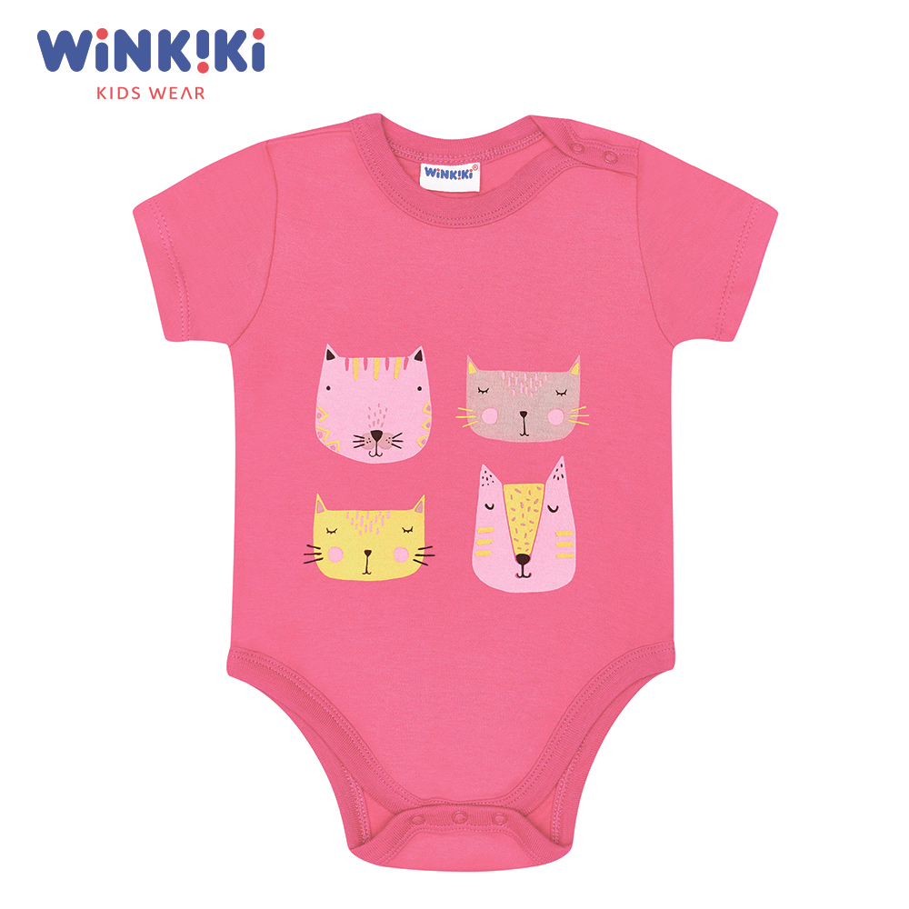 Bodysuits Winkiki WN91301 Baby Clothing One-Pieces Cotton Pink Baby Girls Active shein pink toddler girls v neck frill trim solid ruffle cute jumpsuit 2019 summer cap sleeve long newborn baby clothing