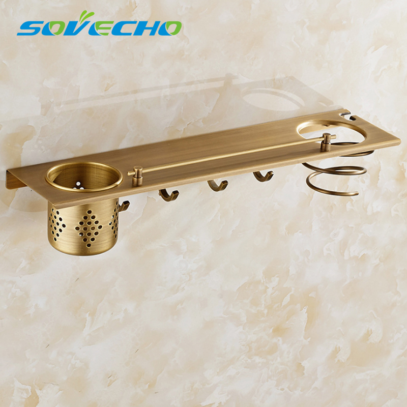 Antique style copper wall mounted bathroom shelves square Multifunctional storage rack with hair dryer shelf and hooks W0890Antique style copper wall mounted bathroom shelves square Multifunctional storage rack with hair dryer shelf and hooks W0890
