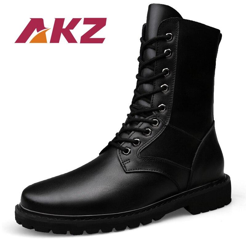 AKZ nouveauté en cuir véritable automne hiver hommes bottines bout rond militaire chaud Martin bottes hommes travail chaussures grande taille