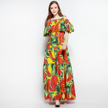 Floor Length Fashion 2017 Women Dresses Off Shoulder Print Long Elegant Evening Party Club Vintage Dress Boho Maxi Cute Clothing