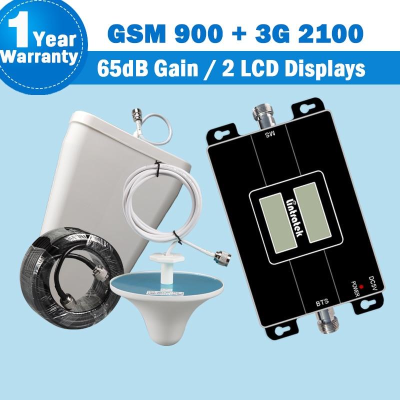 Lintratek GSM 900 2100 mhz Repetidor Amplificador de sinal móvel de banda dupla 900 + 2100 UMTS 65dB Kit de impulsionador de celular amplificador de sinal de telefone celular gsm 900mhz umts 2100 3g com antena de 2g 3g