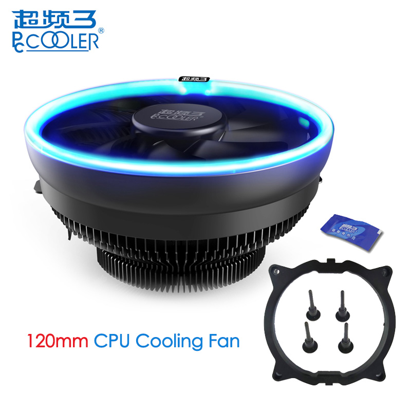 PcCooler 12cm 4Pin Fan Cooler LED Blue Aperture CPU Cooling Fan PWM Silent Radiator For Intel LGA 775/115X for AMD AM2 AM3 AM4 pccooler s126 4pin pwm 12cm 10pcs led fan 5 8mm heatpipes all black cpu cooler amd intel cpu cooling ratidor fan quiet silent