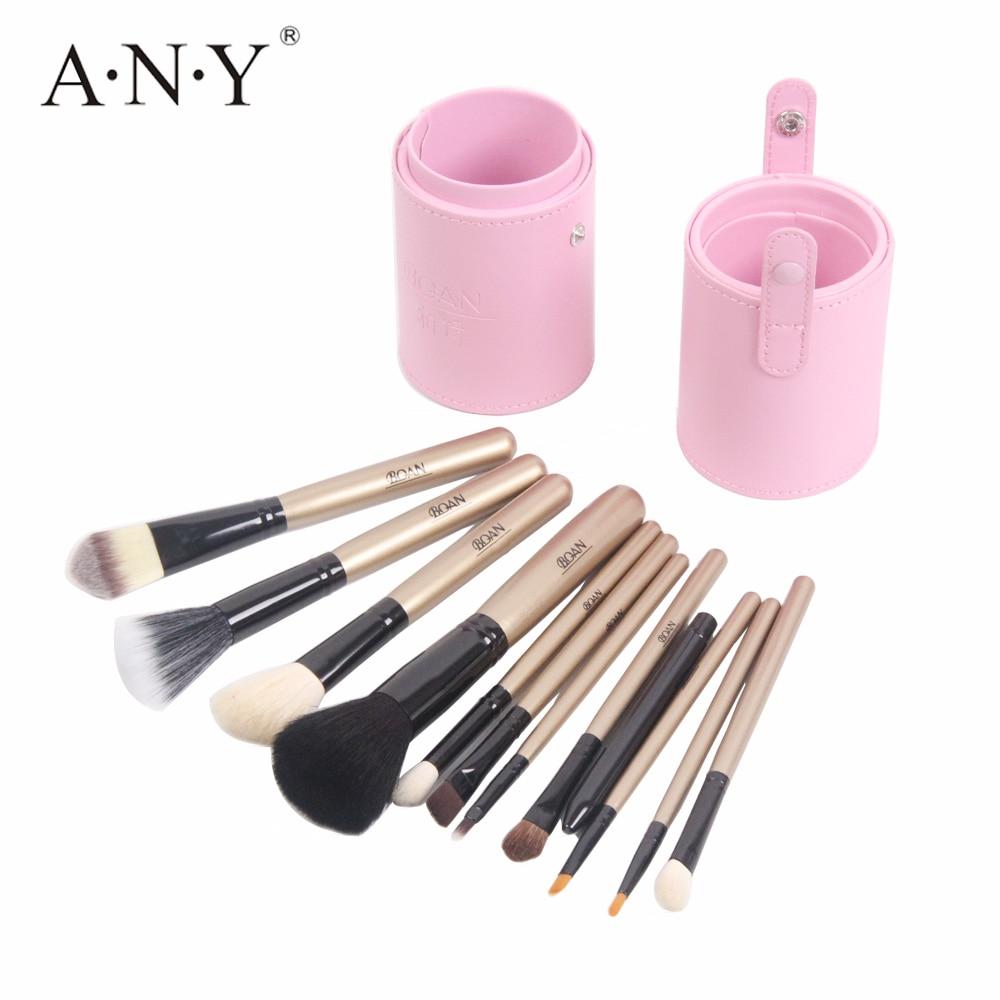 ANGNYA 12PCS Professional <font><b>Makeup</b></font> Brush Set Foundation Eyeliner Brush Kits <font><b>Gold</b></font> Wooden Handle With Leather <font><b>Cup</b></font> Holder New Arrival