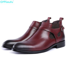 Black Brown Men Genuine Leather Dress Boots Fashion Buckle Ankle Luxury Brand Chelsea Shoes